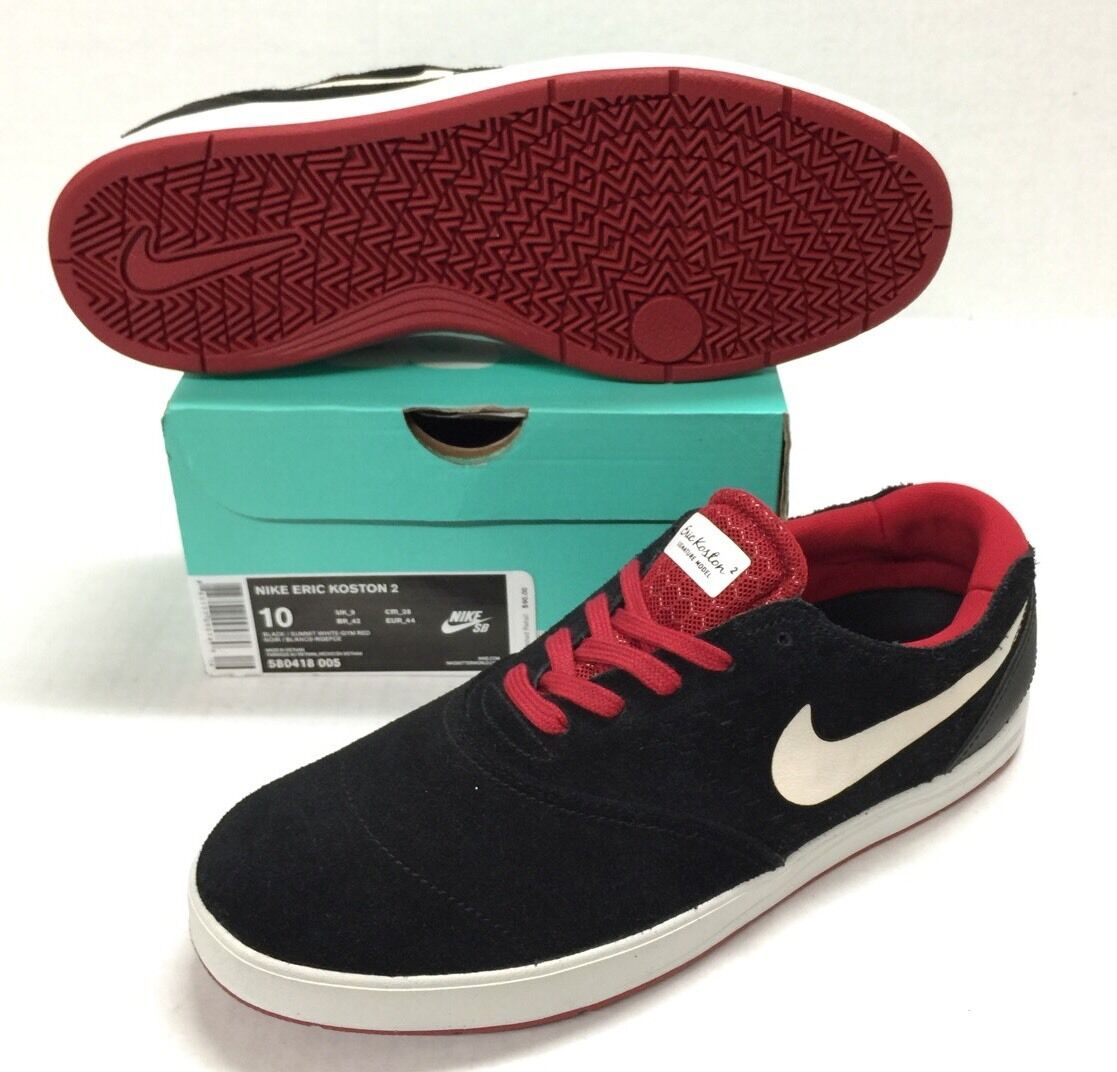 NIKE SB ERIC KOSTON 2 BLACK   BLACK - WHITE GUM RED NEW
