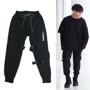 Details about BTS Jungkook Strap Cargo Jogger Pants Boy with Luv Dance  Practice Kpop Kfashion