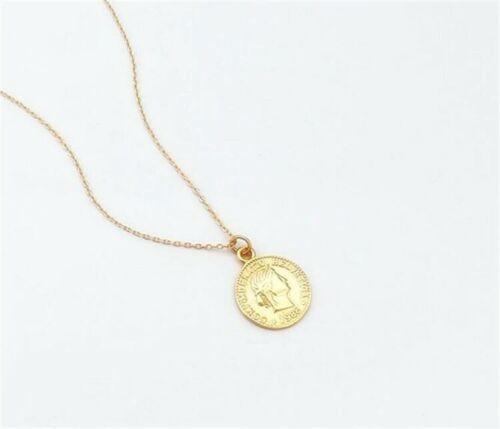925 Sterling Silver Plated Gold Medallion Necklace Chain Pendant Coin Queen Long