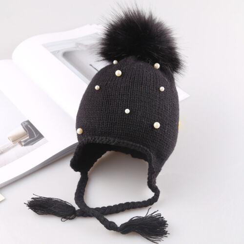1-3 Year Baby Boy/&Girls Hat Large Pom Pom Bobble Chin Tie Winter Knitted Warm