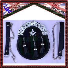 Full Dress Kilt Sporran Black Watch Masonic Crest With 3 Tassels & Chain