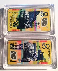 New-50-00-Australian-New-Note-1-oz-Ingot-999-Silver-Plated-Colour-Printed