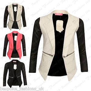 Women-039-s-Ladies-PU-Long-Sleeve-Zip-Quilted-Diamond-Stitch-Open-Blazer-Jacket-Top