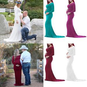 4005802f1db3 Image is loading Off-Shoulder-Long-Sleeve-Maternity-Dress-Baby-Shower-