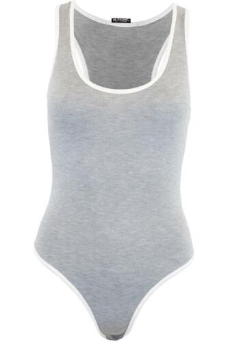 Womens Ladies Stretchy Muscle Racer Back Sleeveless Leotard Vest Bodysuit Top
