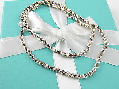 Auth Rare Tiffany & Co 18 Inch Silver 18K Gold Rope Necklace Box