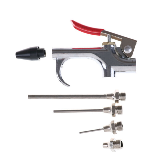 5pc Air Compressor Blow Gun Tool Kit 3 Nozzles Inflation Needle Spray Blower PLF