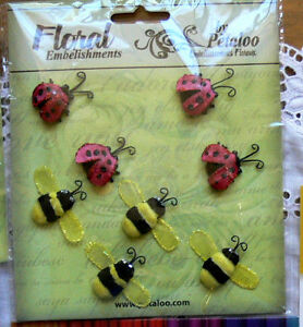BEES-30-x-42mm-with-wings-amp-LADYBUGS-20-x-35mm-4-of-each-Petaloo-CMC