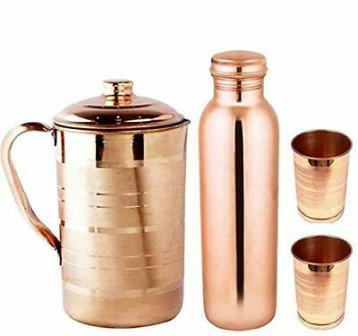 100/% Pure Copper Handmade Jug Water Pitcher 1.5 L With 2 Glasses Storage healthy