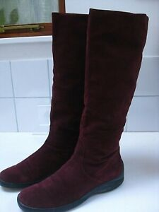 Ladies-MARILYN-ANSELM-HOBBS-red-suede-KNEE-HIGH-slouch-BOOTS-UK-6-5-5-40-snow