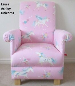 Details about Laura Ashley Chair Unicorns Fabric Childrens Girls Pink  Armchair Bedroom Nursery