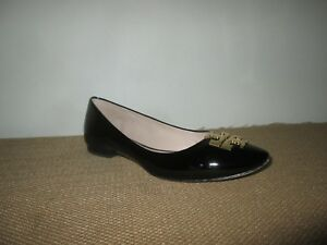 d13c56d622e2 TORY BURCH Raleigh Black Patent Leather Ballet Flats Shoes w  Gold ...