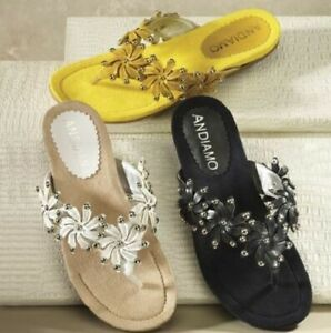 Women-039-s-Shoes-Andiamo-Sabre-9-10-M-Yellow-or-Black-Flip-Flops-Sandals