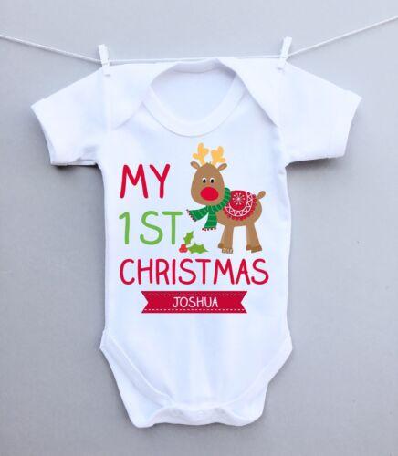 Personalised baby bodysuit vest babygrow!1st Christmas gift milestone reindeer