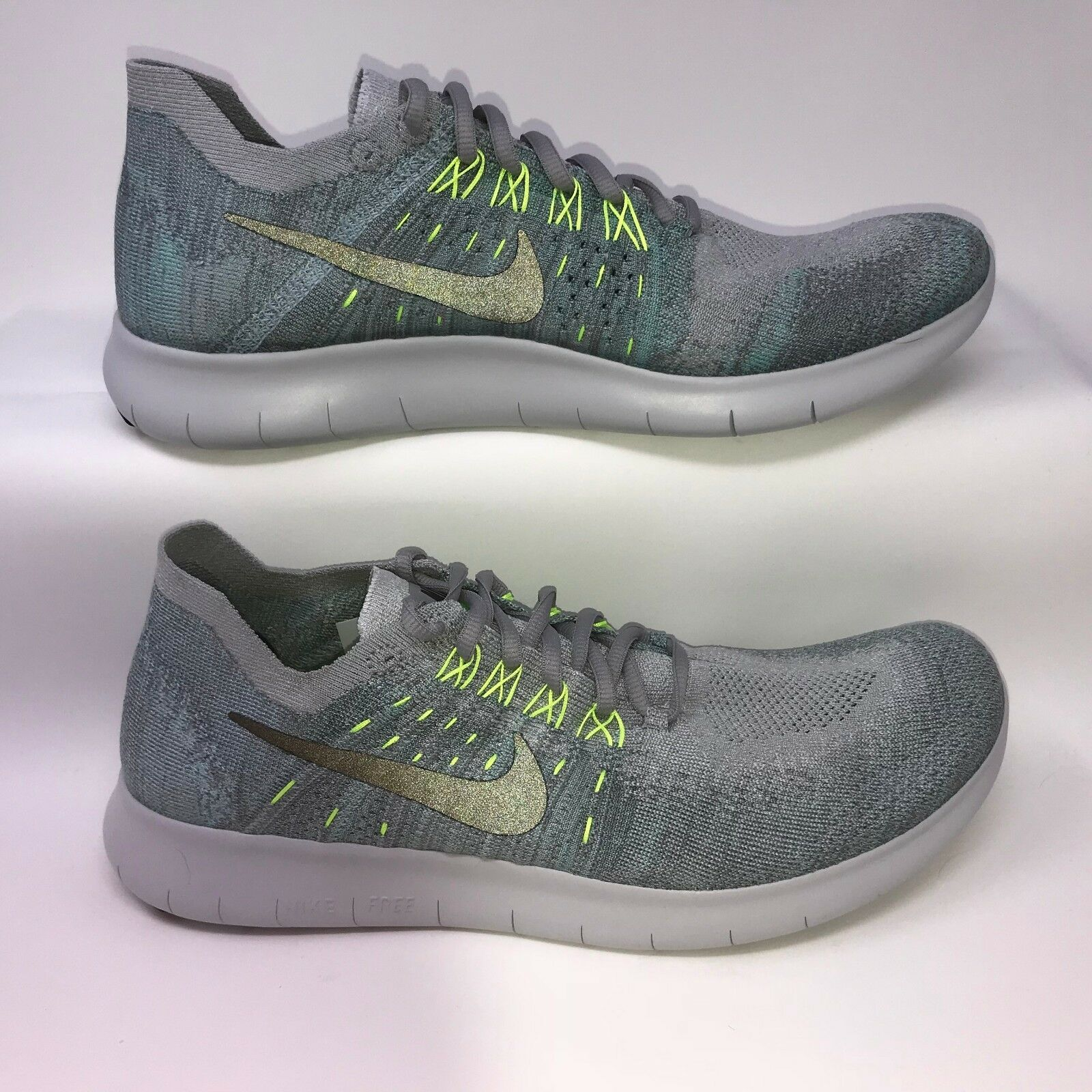 Nike Flyknit 880843-014 Mens Free RN Flyknit Nike Wolf Grey Turquoise Running Shoes Size 11 28538f