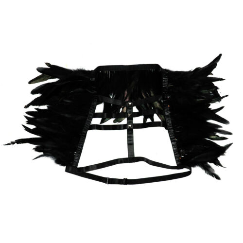 Women Elastic Feather Shrug Cage Bra Chest Harness Shoulder Wings Fancy Costume