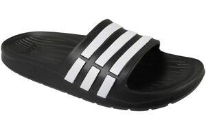 2bb54e72d29 adidas Duramo Slide K Black White Youth Girls Womens Slippers ...