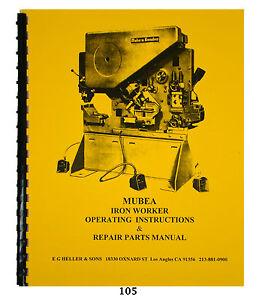 mubea kbl optima 71 5 ironworker operating \u0026 repair parts manual  image is loading mubea kbl optima 71 5 ironworker operating amp