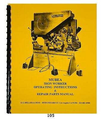 mubea kbl optima 71-5 ironworker operating & repair parts manual *105  635189021968 | ebay