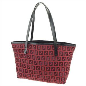 c8777372043 Fendi Tote bag Zucchino Red Black Canvas leather Woman Authentic ...