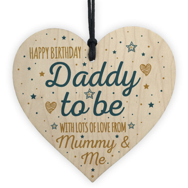 Happy Birthday Daddy To Be From Bump Wood Heart Dad Father Funny Card Baby Gift For Sale Online