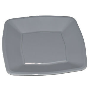 30x Silver Square Waved Dinner Plates Disposable Plastic 9\