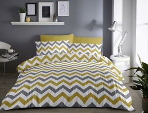 Fusion-034-Chevron-034-Reversible-ZigZag-Easy-Care-Duvet-Cover-Bedding-Set-Ochre