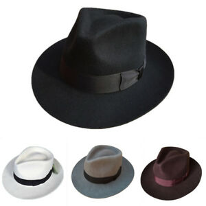 Classic Men s Wool Felt Fedora Hat Gangsters Traditional Godfather ... 8a1fdb77ade