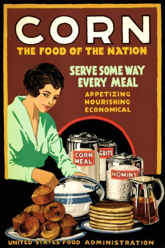 CORN Meal Hominy Grits US Gov/'t WPA Food Poster Kitchen Breakfast Art Print 053