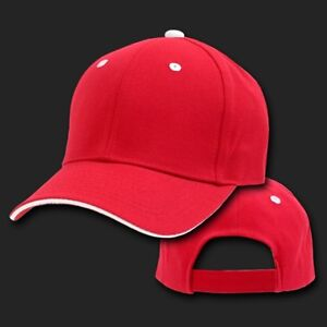 Red   White Sandwich Visor Bill Blank Plain Solid Baseball Cap Hat ... 44777057ebe
