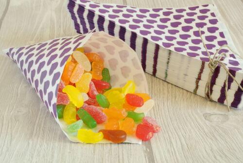 100 Papiertüten Spitztüten Papierspitztüten CandyBar Bonbontüten 19 cm lila