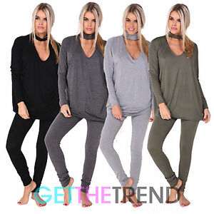Image is loading Womens-Choker-Neck-Ladies-Loungewear -Tracksuit-Leggings-NightWear- feaa7db4a