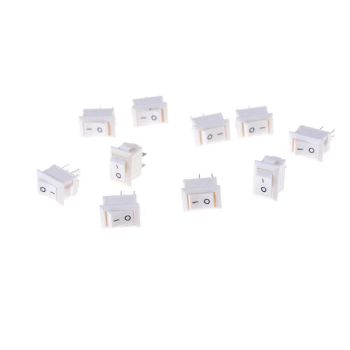 10pcs 2pins KCD11 On//Off 3A 250V 15x10mm Rocker Power Switch White TO
