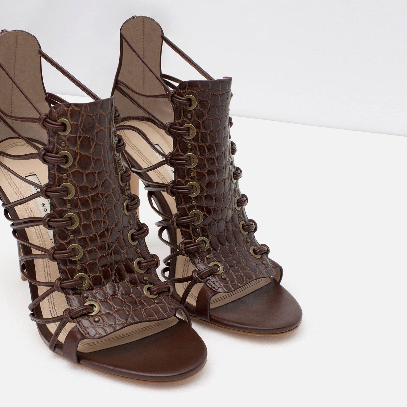 Zara Leder High Heels 6 Sandale Größe 6 Heels - 357efa