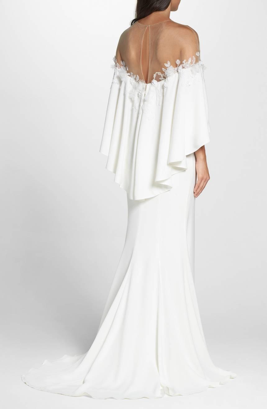 TADASHI SHOJI SHOJI SHOJI Bridal Ivory Floral Off Shoulder Popover Athena Gown 6 US DISPLAY 6ac026
