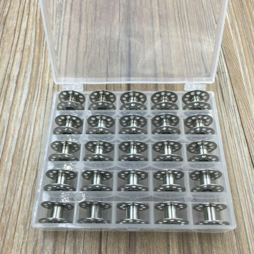 25Pcs 20mm Universal Sewing Machine Metal Bobbins Bobbin Spool with Storage Box