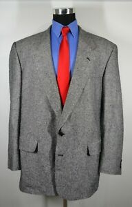 Mazzoni-48L-Sport-Coat-Blazer-Suit-Jacket-Black-White-Silk