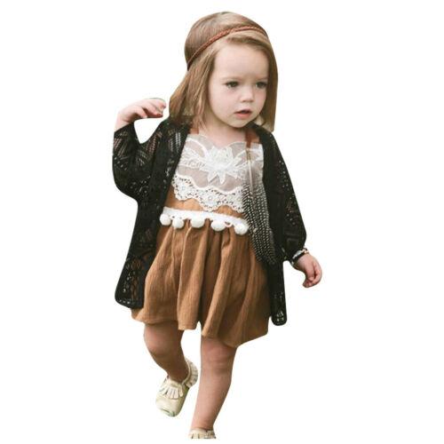 Newborn Infant Toddler Baby Boy Girls Linen Lace Backless Romper Dress Bodysuit