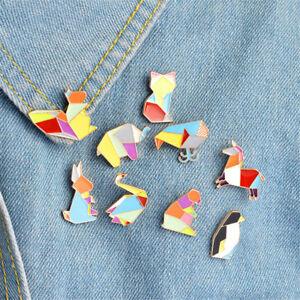 1x-Origami-Animal-Lapel-Enamel-Pins-Elephant-Rabbit-Bear-Squirrel-WhalePenguinFF