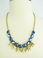 J. Crew NWT Shooting Stars Blue Iridescent Crystal Statement Necklace & Dust Bag