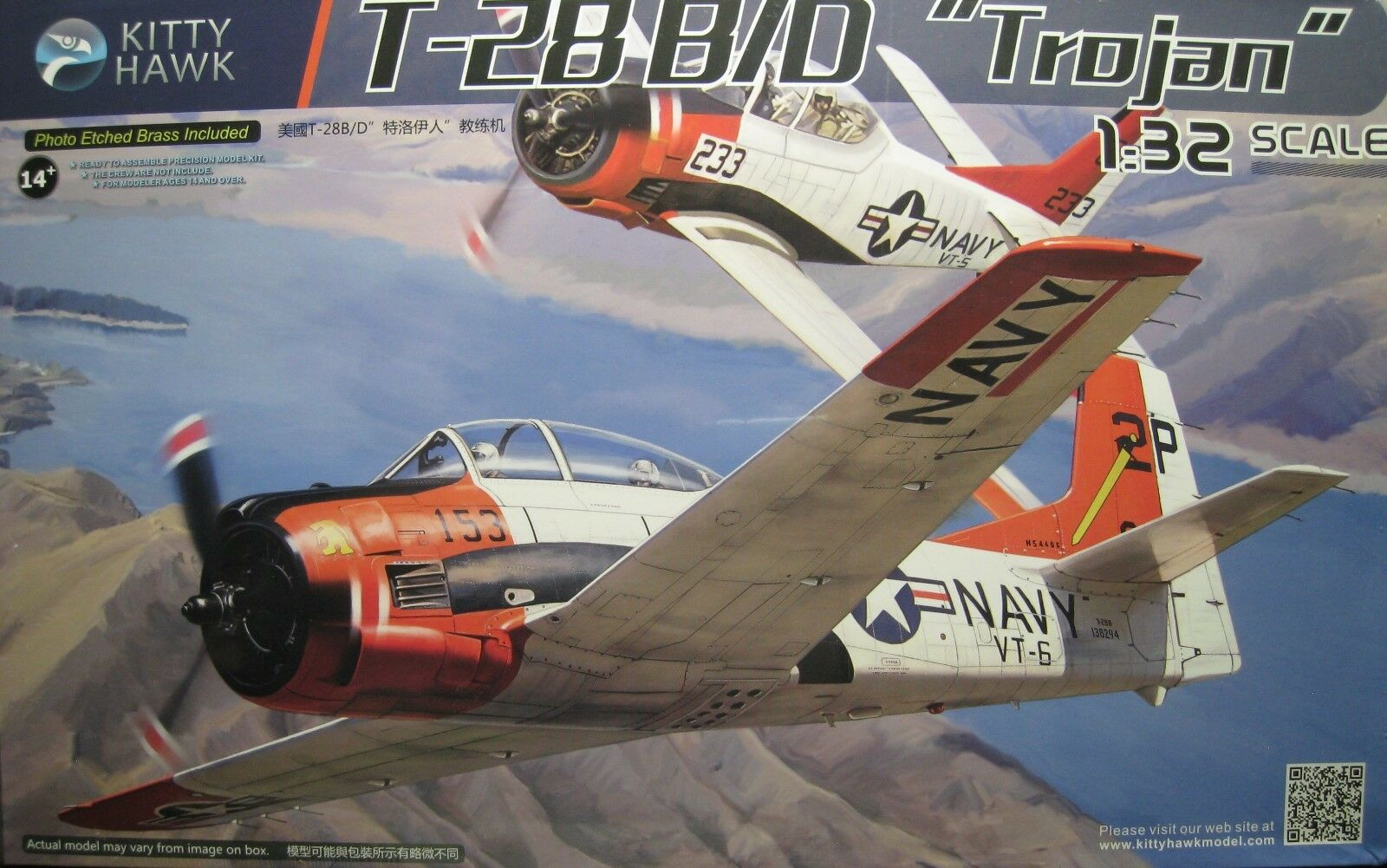 1 32 North American T-28 B D Trojan Model Kit by Kitty Hawk Models