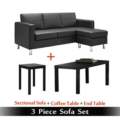 Sofa Sets For Living Room Set Bundle Black Leather Couch Table Office 3  Piece | eBay