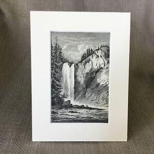 1890-Antique-Print-Snoqualmie-Falls-Washington-Territory-Americana-Victorian-Art