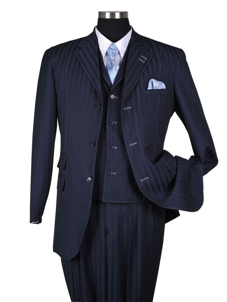 Men's 3 Button Classic Striped Suit w  Vest 3pc Set 5267 Navy Size 38  60