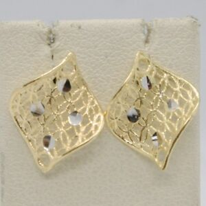 SOLID-18K-YELLOW-GOLD-PENDANT-EARRINGS-FINELY-WORKED-ONDULATE-LEAF-MADE-IN-ITALY