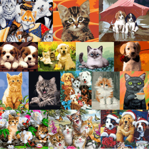 40*50CM DIY Acrylic Paint By Number Kit Oil Painting Wall Decor On Canvas CATS