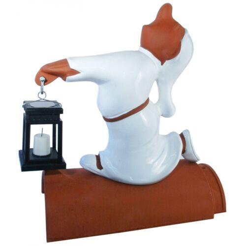 Firstfigur Schlafwandler Flitzi Dachschmuck mit Laterne 40cm weiß glasiert
