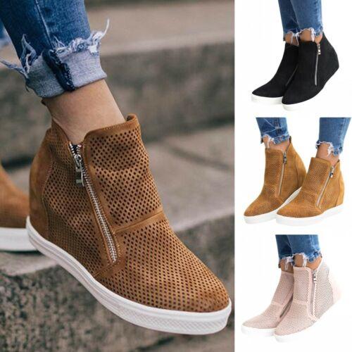 Women Wedge Hidden Heel Casual Sneakers Ankle Boots Trainers Zipper Shoes Size
