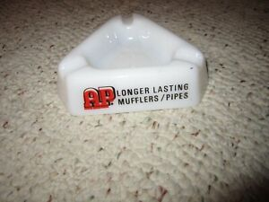 Vintage-Milk-Glass-Advertising-Ashtray-Say-039-s-AAP-Longer-Lasting-Mufflers-Pipes