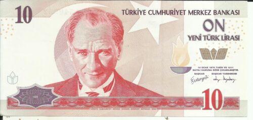 TURKEY 10 LIRA 2005  P 218 4RW 11 OCT UNC CONDITION